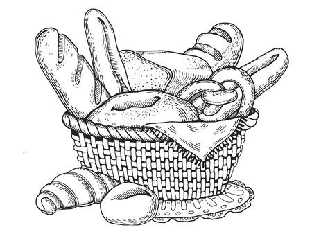 Bakkerij producten graveren stijl vector Stock Illustratie