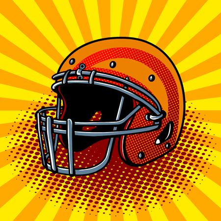 Football helmet pop art style vector illustration. Comic book style imitation Ilustrace