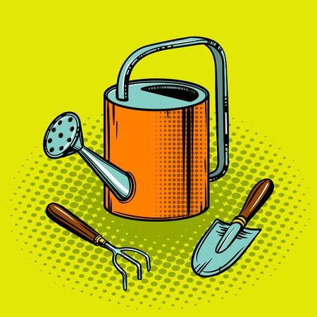 Gardening tools pop art style vector illustration. Comic book style imitation