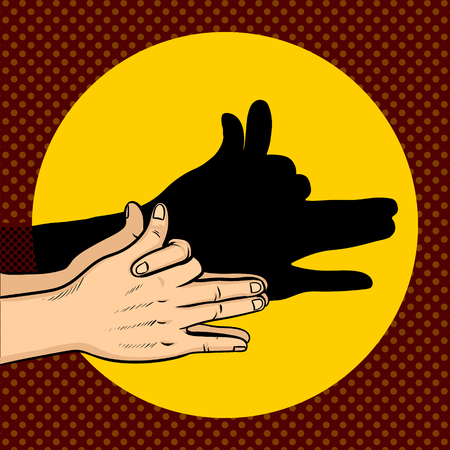 Shadow dog puppet pop art retro vector illustration. Comic book style imitation.