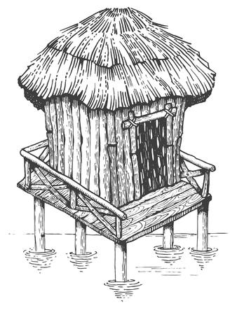 水の彫刻スタイル ベクトルのバンガロー