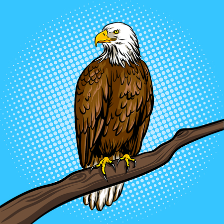 Eagle bird on tree pop art retro vector illustration. Comic book style imitation.