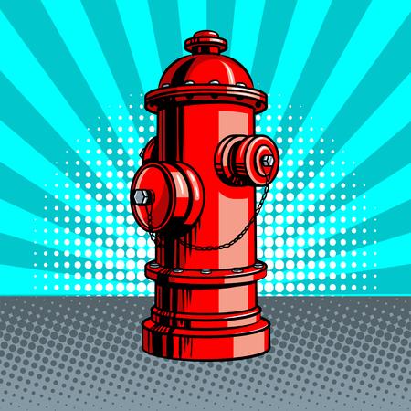 Ilustración del vector del estilo del arte pop de la boca de riego de fuego rojo. Imitación de estilo cómic