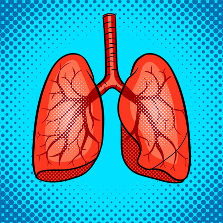 Human lungs pop art retro vector illustration. Comic book style imitation.