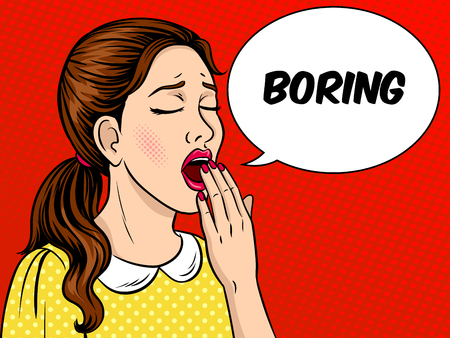 Yawning bored girl pop art retro vector illustration. Comic book style imitation.