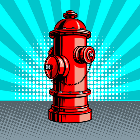 Red fire hydrant pop art style vector illustration. Comic book style imitation Reklamní fotografie - 76701942