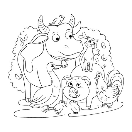 Farm Animals Coloring Book For Children Vector Illustration Royalty ...