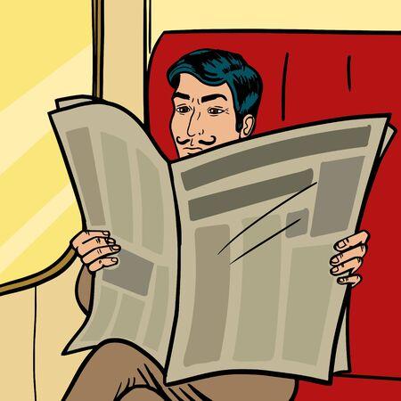 남자 열차에서 신문을 읽습니다 팝 아트 복고풍 벡터 일러스트 레이 션. 만화 스타일 모방입니다.