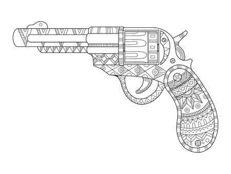 revólver pistola para colorear libro ilustración vectorial