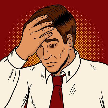 Man suffering with headache pop art style retro vector illustration. Medical illustration.