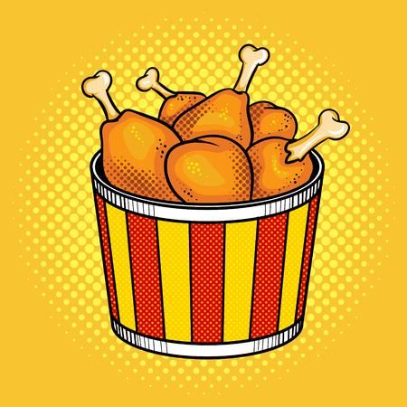 Fast food chicken legs bucket vector illustration