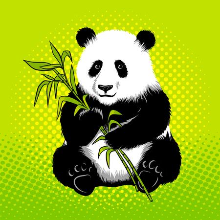대나무 팝 아트 스타일 벡터와 팬더 곰