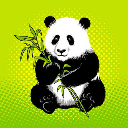 Panda bear with bamboo pop art style vector 向量圖像