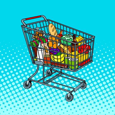 음식 제품 팝 아트 벡터와 쇼핑 카트
