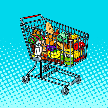 Shopping cart with food products pop art vector