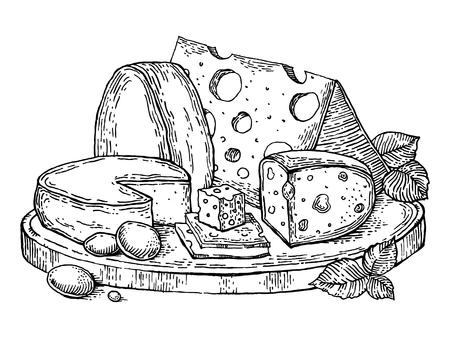 Plate kaas gravure stijl vector illustratie
