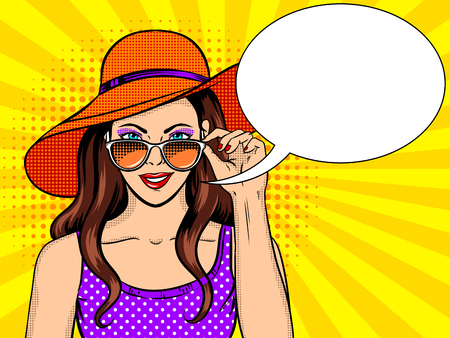 Woman looks through sunglasses pop art vector