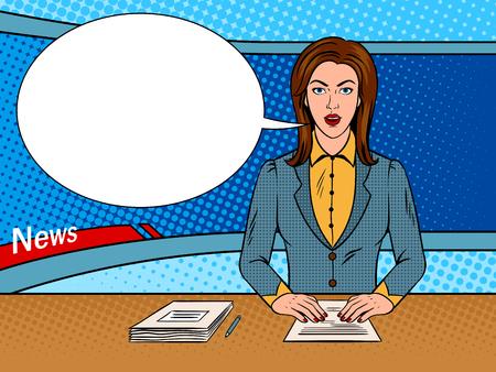 Newsreader reads news on TV pop art vector Illustration