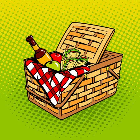 Picknickkorb mit Nahrungsmittelpop-artvektor