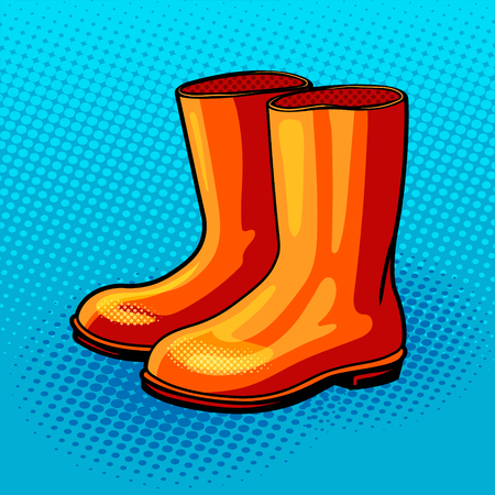 Rubber boots pop art style vector illustration. Comic book style imitation