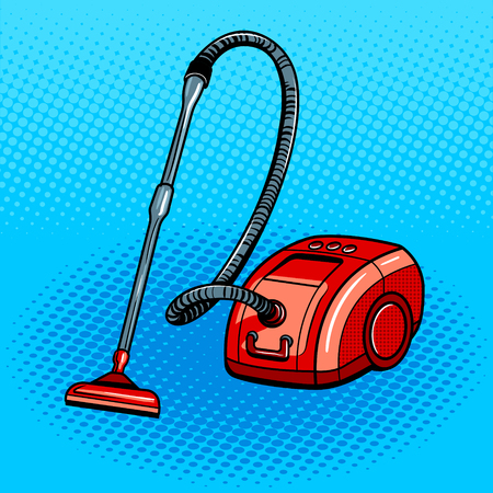 Vacuum cleaner pop art style vector illustration. Comic book style imitation