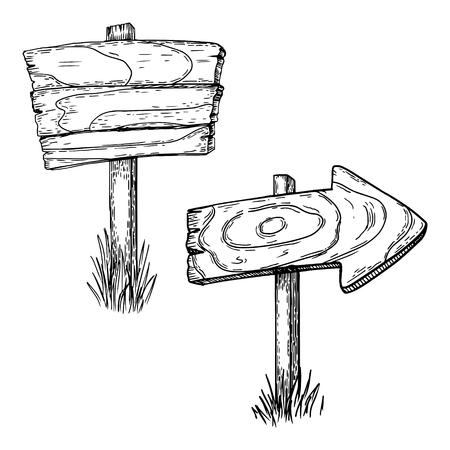 Illustration vectorielle de pointeurs en bois gravure. Imitation de style Scratch board. Image dessinée à la main. Banque d'images - 77334402