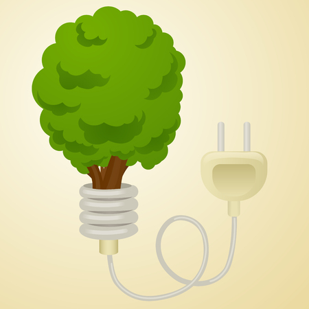 Green energy metaphor cartoon vector illustration. Tree with Power plug