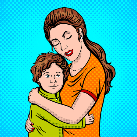 Mother and child pop art style vector illustration
