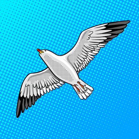 Sea gull bird pop art style vector illustration