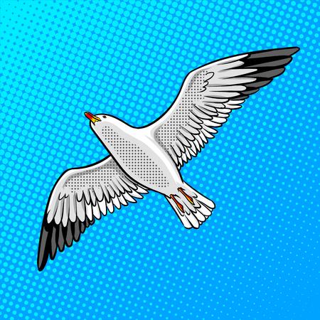 Zeemeeuw vogel popart stijl vectorillustratie