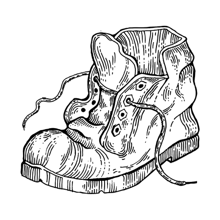 Old shabby boot engraving style vector Illustration