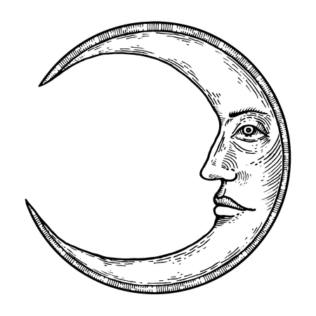 Moon with face engraving style vector illustration
