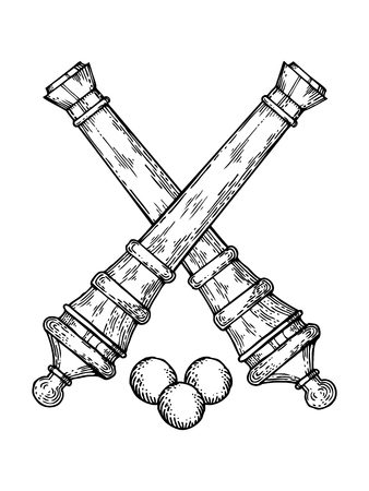 Vintage kanonnen en kernen graveren stijl vector