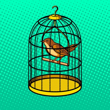 ポップアート スタイルのベクトル図でケージの鳥