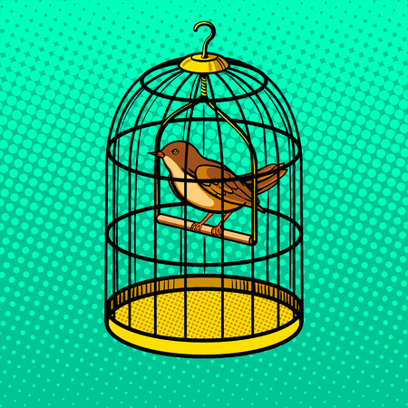Vogel in kooi pop art style vector illustratie