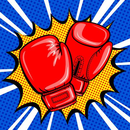 Boxing gloves pop art style vector Vettoriali