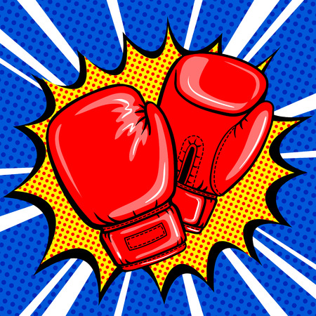 Boxing gloves pop art style vector Illustration