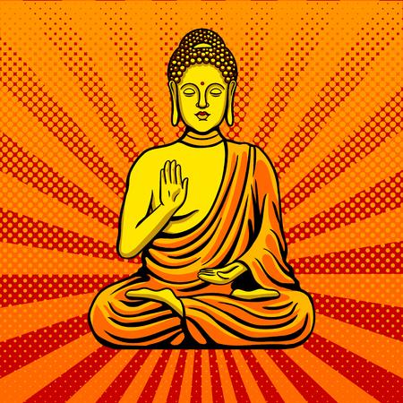 부처님 동상 기념물 팝 아트 스타일 벡터