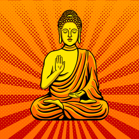 Buddha statue monument pop art style vector Иллюстрация