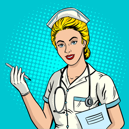 Nurse pop art style vector illustration