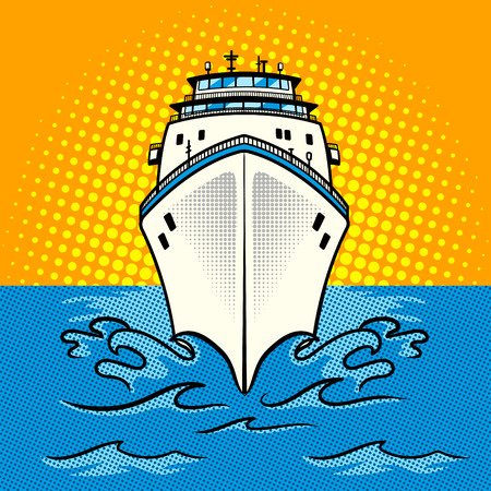 Cruise ship pop art style vector