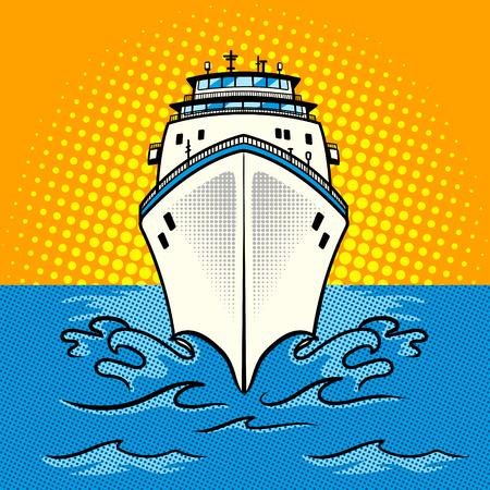 Cruise ship pop art style vector