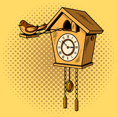 Cuckoo clock comic book pop art retro style vector illustratoin
