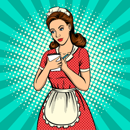 Waitress woman pop art retro vector illustration. Comic book style imitation. Reklamní fotografie - 79088834