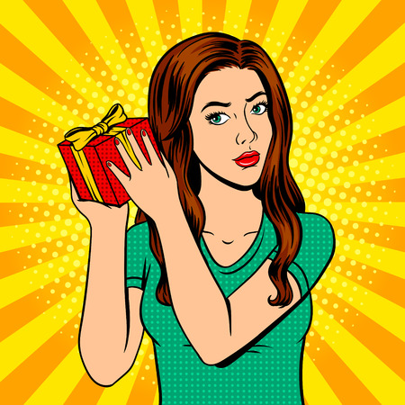Girl with gift box pop art retro vector illustration. Comic book style imitation. Иллюстрация