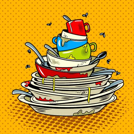 Dirty dishes comic book pop art retro style vector illustratoin