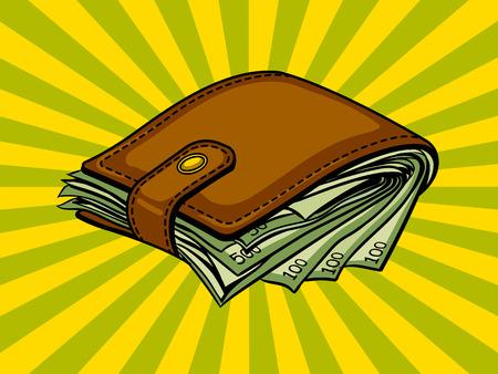 お金 pop アート スタイルのベクトル図と、フルの財布。コミック スタイルの模倣