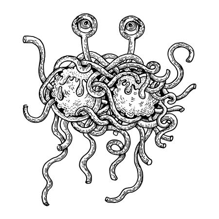 Vliegende spaghetti monster gravure vectorillustratie. Krasplankstijl imitatie. Hand getrokken afbeelding. Stock Illustratie