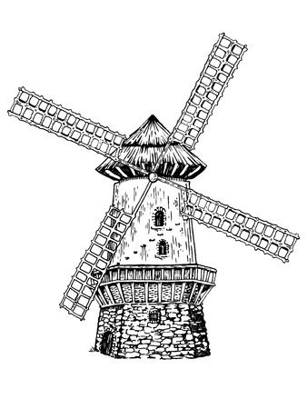 Ancien moulin à vent gravure illustration vectorielle. Imitation de style Scratch board. Image dessinée à la main.