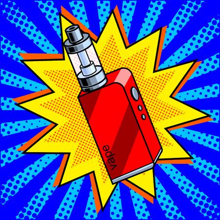Electronic cigarette comic book pop art retro style vector illustration Иллюстрация